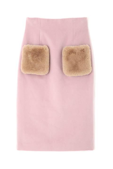 《EDIT COLOGNE》ポケットフェイクファーミディースカート