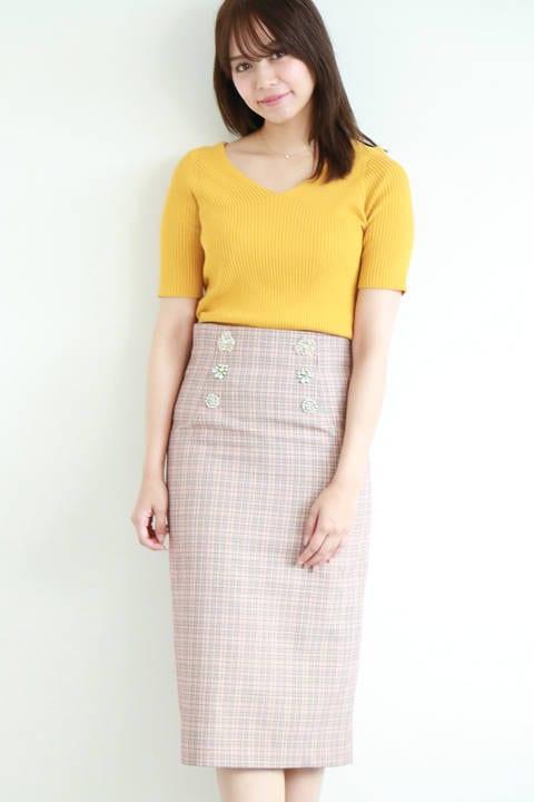 《EDIT COLOGNE》ビジューチェックタイトスカート