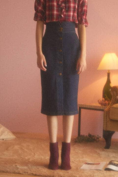 《EDIT COLOGNE》フロントボタンデニムスカート