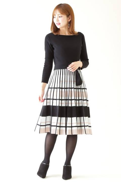 マルチボーダープリーツドレス