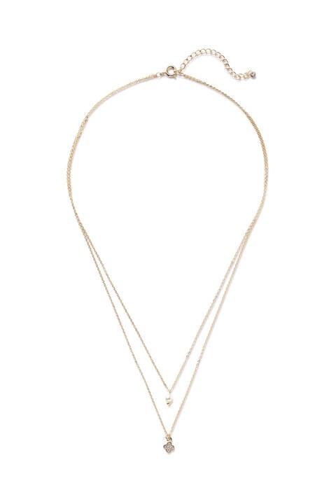 プチパールフラワー2連ネックレス