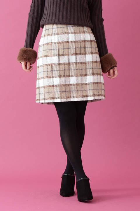 ループタータンチェック台形ミニスカート