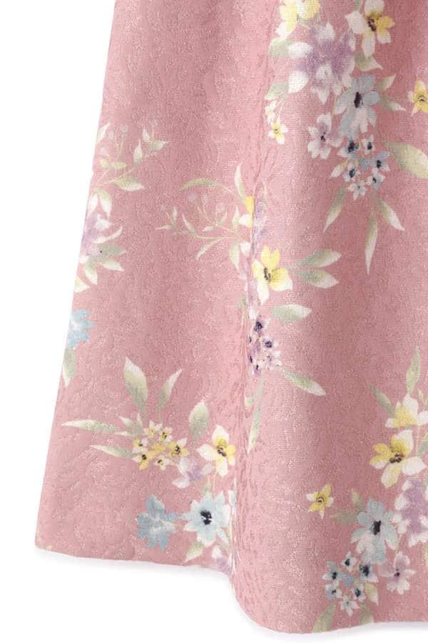 フラワータックジャガードスカート