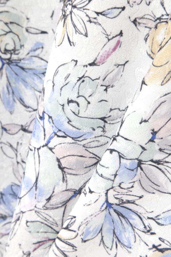ドローイングフラワープリントスカート