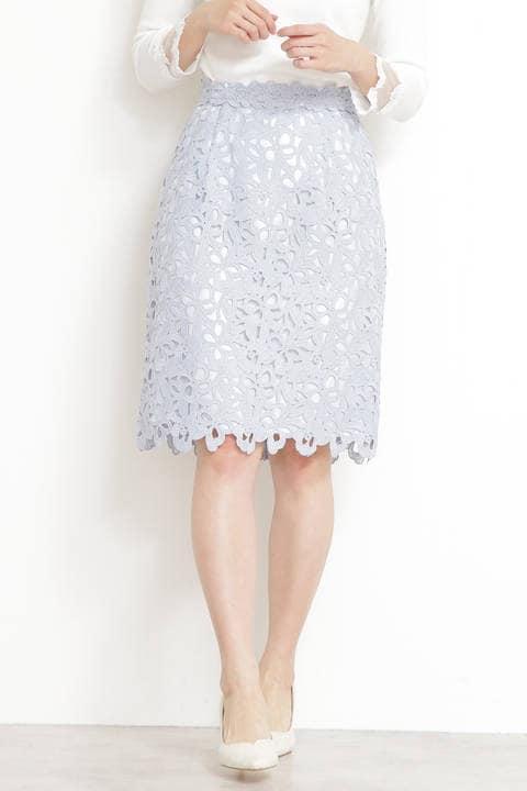 リボンケミカルレースタイトスカート