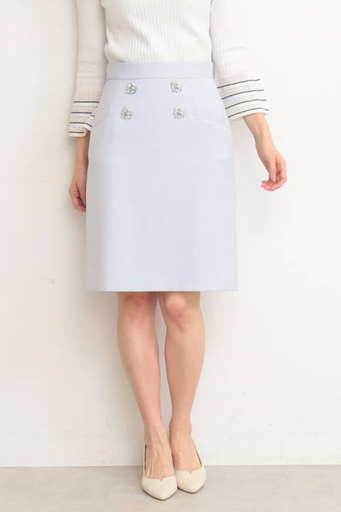 【先行予約3月中旬-下旬入荷予定】フラワービジューダブルクロススカート