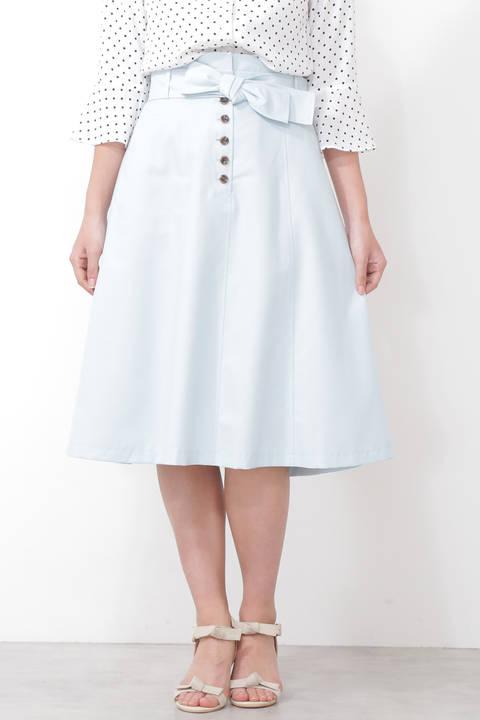 【先行予約3月中旬-下旬入荷予定】ウエストリボンカラーツイルフレアスカート
