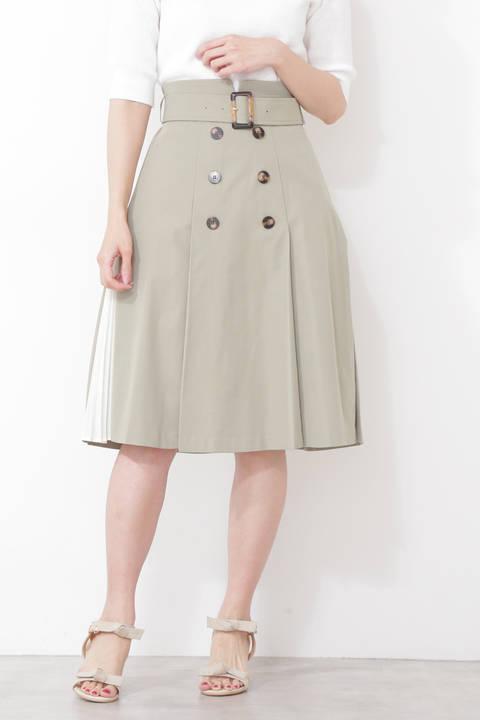 【先行予約3月中旬-下旬入荷予定】トレンチツイルサイドプリーツスカート
