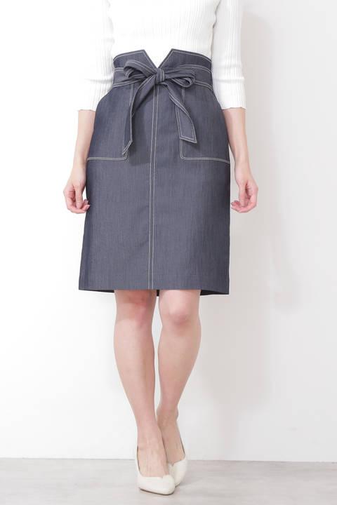【先行予約3月中旬-下旬入荷予定】バイカラーステッチポケットタイトスカート