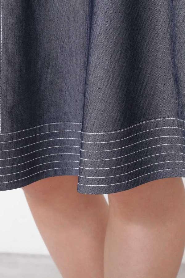 バイカラーステッチフレアースカート