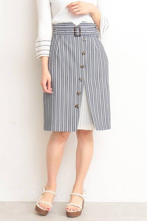 ストライププリーツタイトスカート