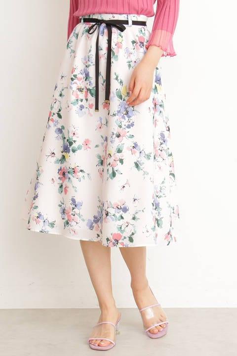 ファジーフラワープリントギャザースカート