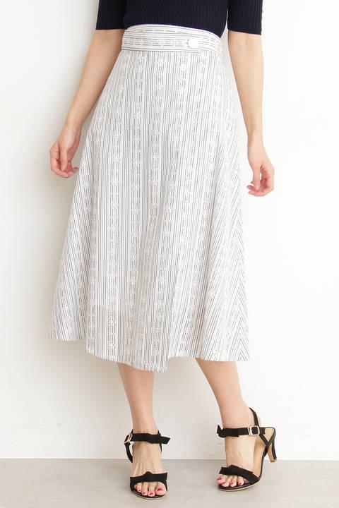 【先行予約4月中旬-下旬入荷予定】コットンアイレットミディフレアースカート