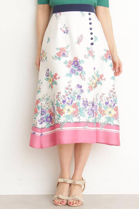 スカーフプリントミディスカート