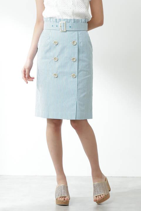 マリンストライプトレンチスカート