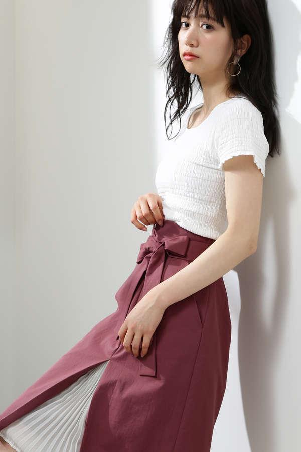 フロントプリーツリボンタイトスカート