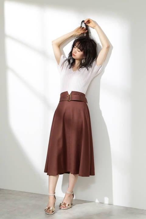 ベルト付きツイルフレアースカート