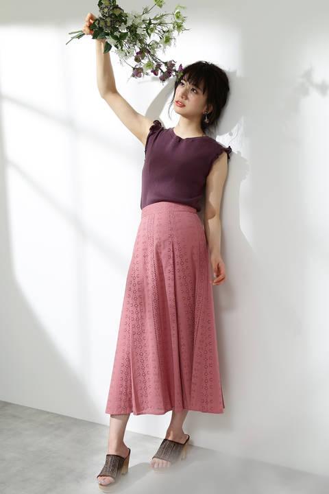 アイレットレースロングフレアスカート