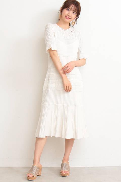 《CanCam 5月号掲載》アイレットレースニットドレス