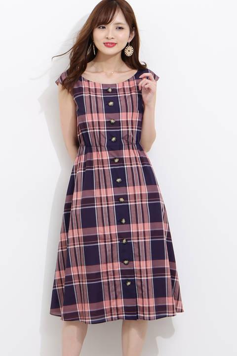 【美人百花6月号掲載】シアーマドラスべっ甲ボタンフレアワンピース