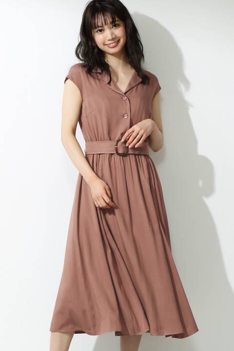開襟衿ベルト付きワンピース