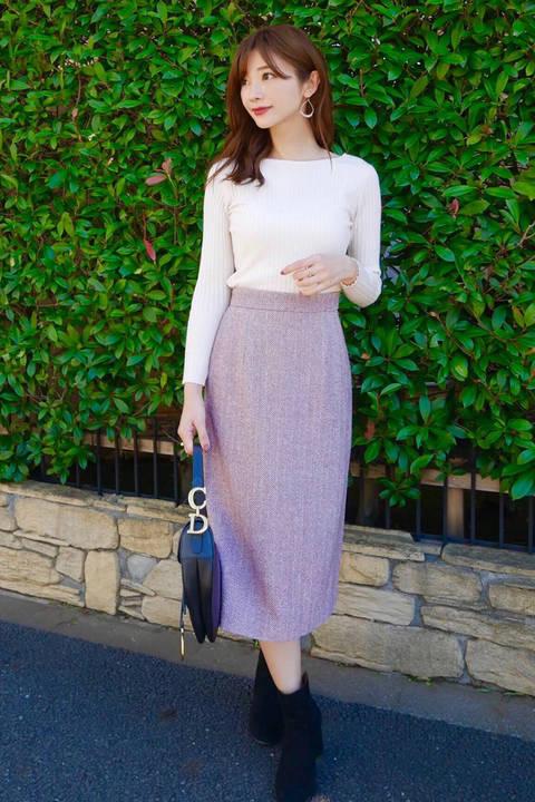|CanCam 11月号掲載|ヘリンボーンロングタイトスカート