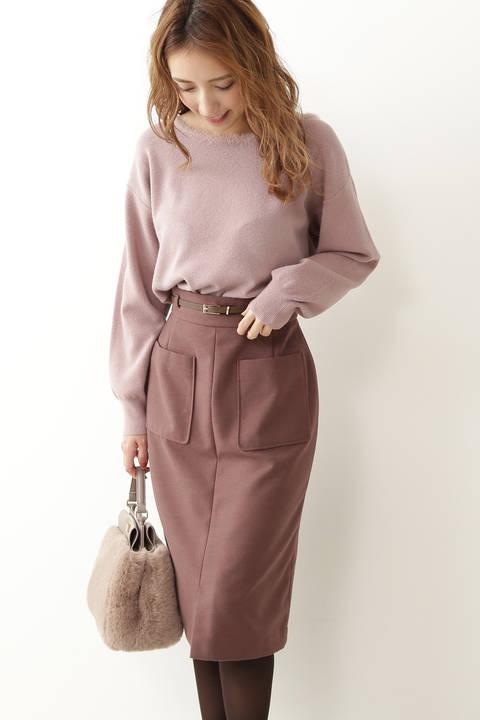 ビッグポケットロングペンシルスカート