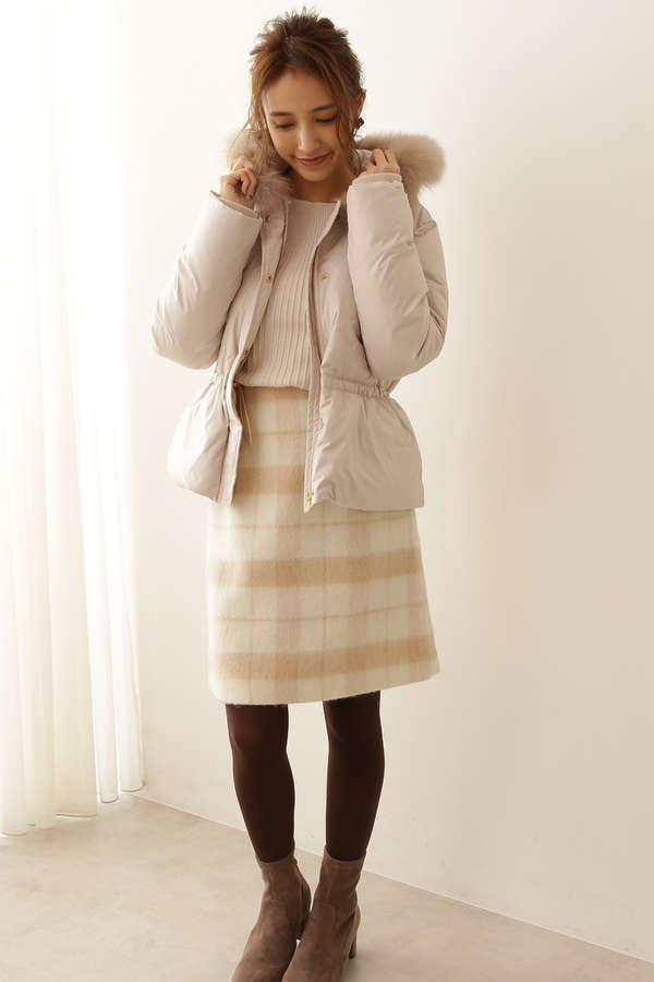[堀田茜さん着用]台形シャギーミニスカート