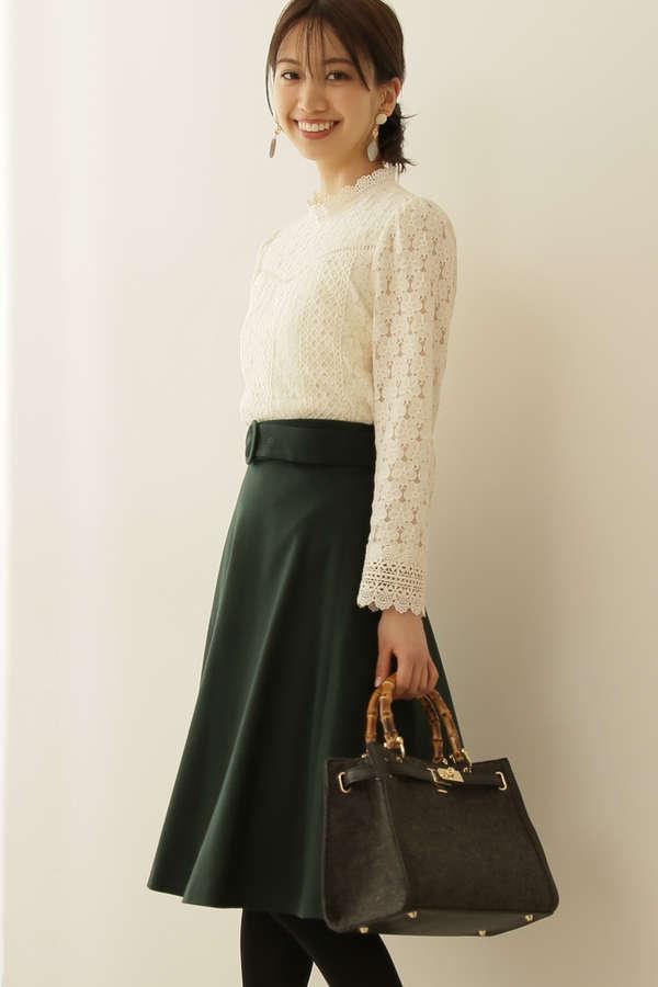 サッシュカラーフレアースカート
