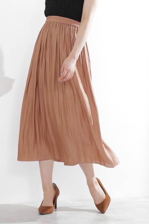 【先行予約8月上旬~中旬入荷予定】シャイニーサテンプリーツスカート