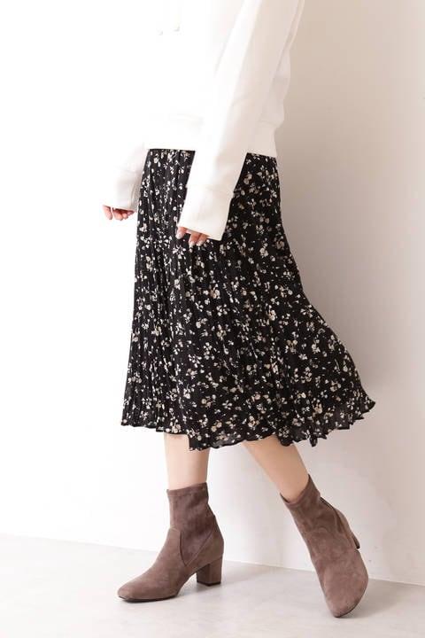 |美人百花 10月号掲載|クラシカルフラワープリントワッシャープリーツスカート