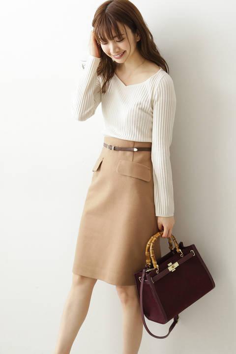 【先行予約10月上旬-10月中旬入荷予定】ベルト付きフラップタイトスカート