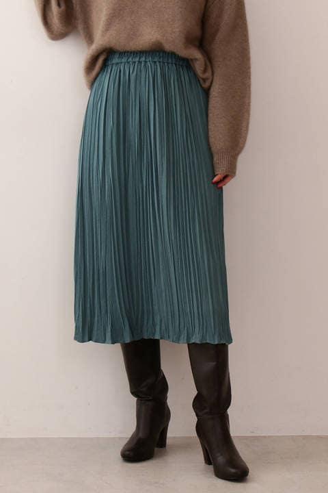 【先行予約10月上旬-10月中旬入荷予定】《EDIT COLOGNE》ランダムプリーツサテンスカート