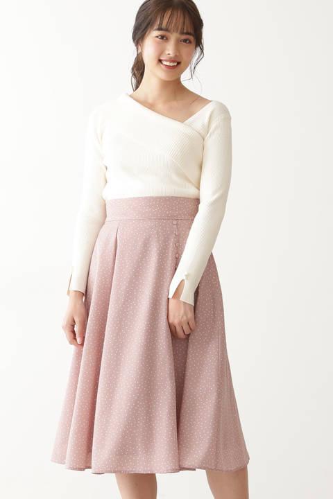 【先行予約2月中旬-2月下旬入荷予定】ランダムドットスカート