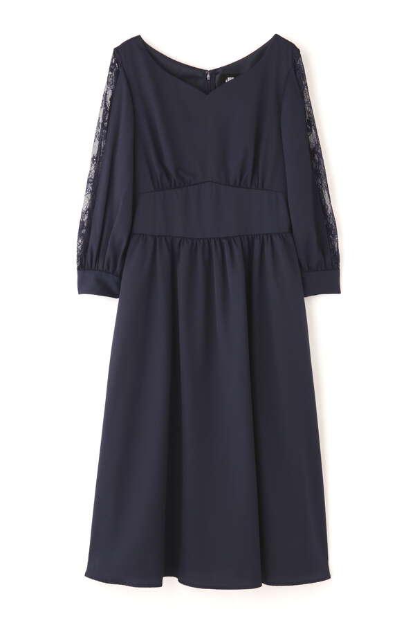 スリットレーススリーブドレス