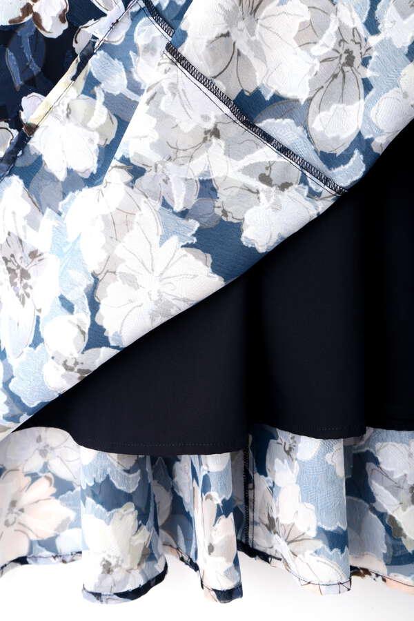 【堀田茜さん着用 美人百花6月号掲載商品】フローラルプリントカットジャガードワンピース
