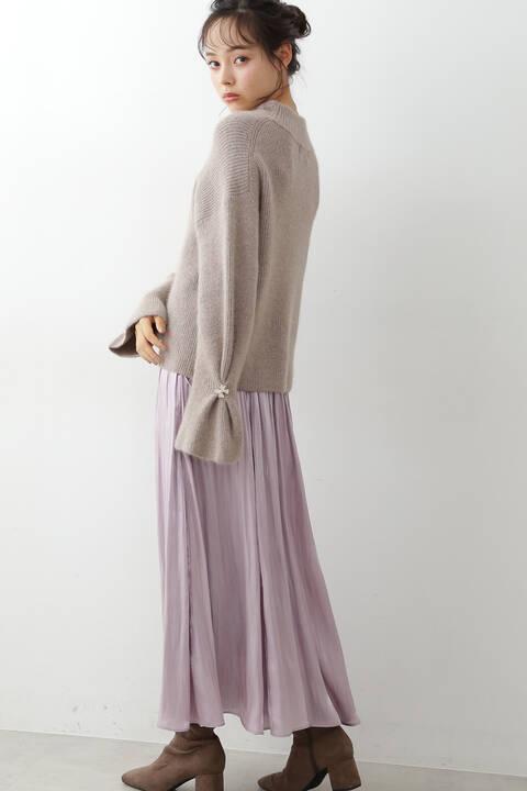 【先行予約11月上旬-11月中旬入荷予定】ロマンティックグリットサテンスカート
