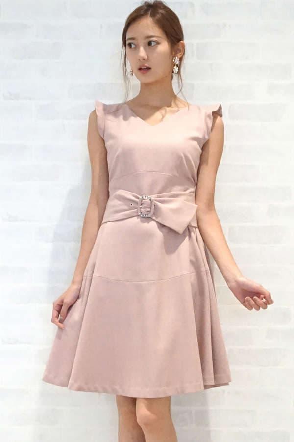 Vネックカラードレス