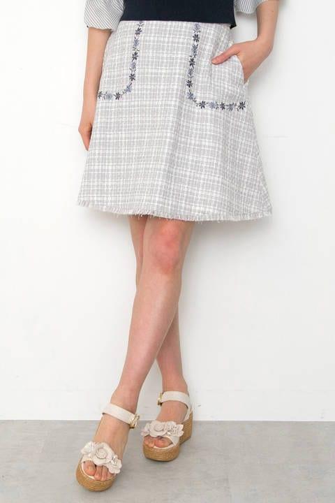 スプリング ツィード スカート