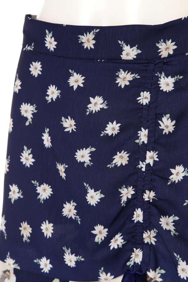 パッチフローラルアシンメトリースカート