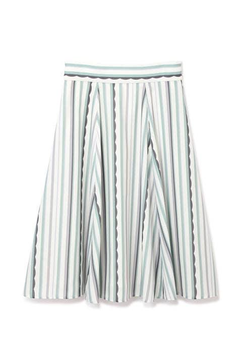 パッチストライプシャツドレス スカート