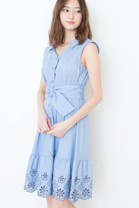 【Ray7月号 掲載】【CanCam 6月号 掲載】カットワークシャツドレス