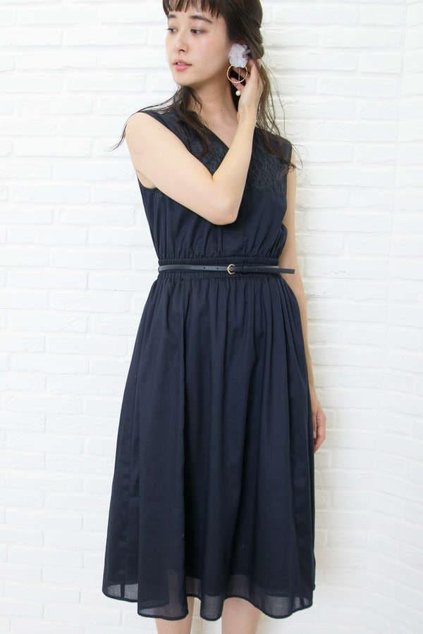 レースパネルシャツドレス