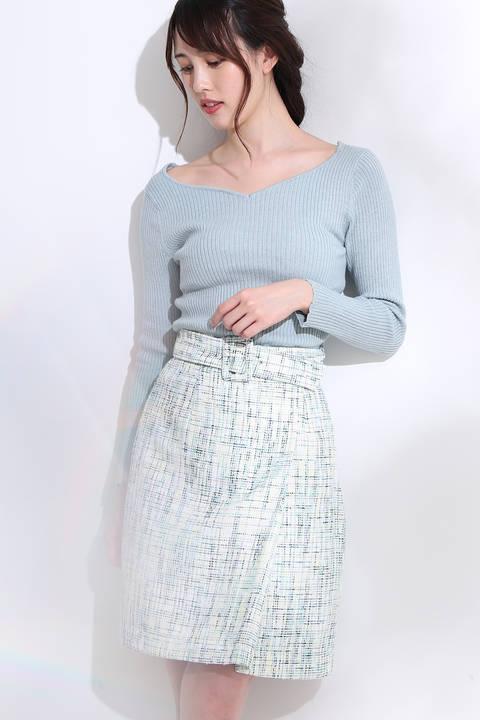 チェーンニット×ツイードスカートセット ワンピース