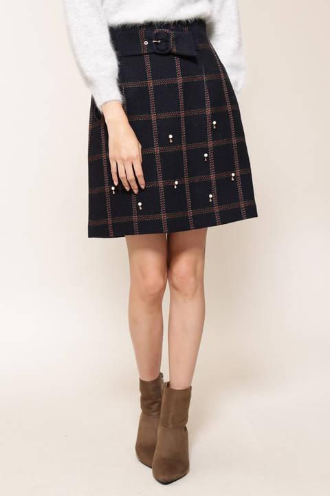 アンクルチェックビジュー台形ミニスカート
