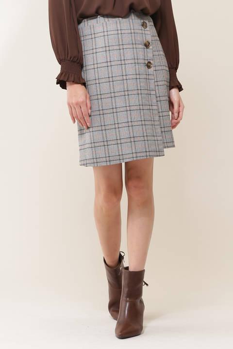 チェックバリエーションラップ風スカート
