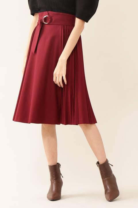 ベルトサイドプリーツスカート