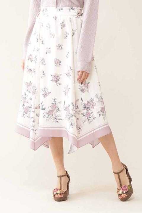 スカーフフローラルスカート