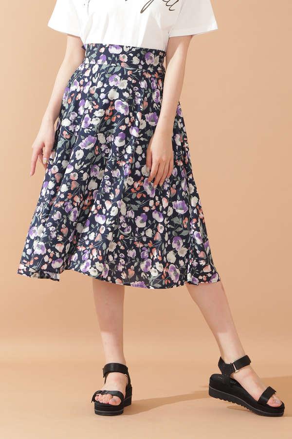 ボカシブルームフレアスカート