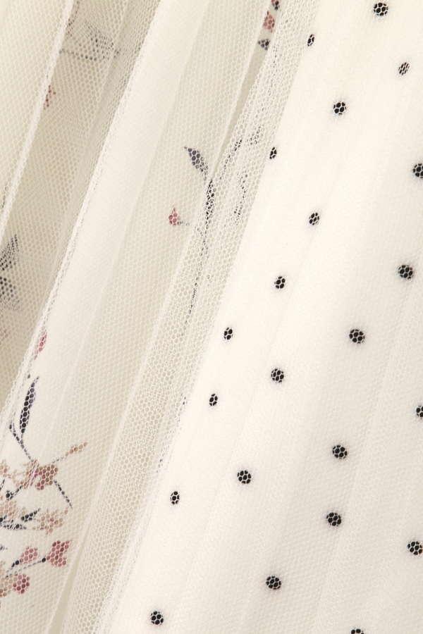 ブロッキングプリントチュールスカート